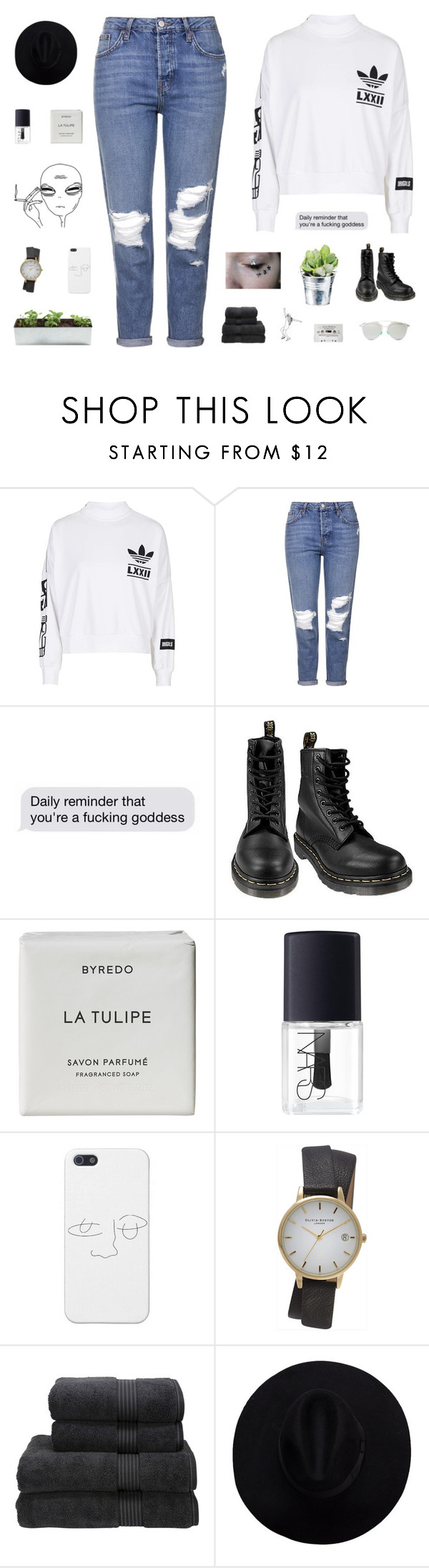 """it's not about reciprocation it's just all about me, a sycophantic, prophetic, socratic, junkie wannabe"" by smoothpeanutbutter ❤ liked on Polyvore featuring adidas, Topshop, CO, Dr. Martens, Byredo, NARS Cosmetics, Christy, Christian Dior, women's clothing and women"