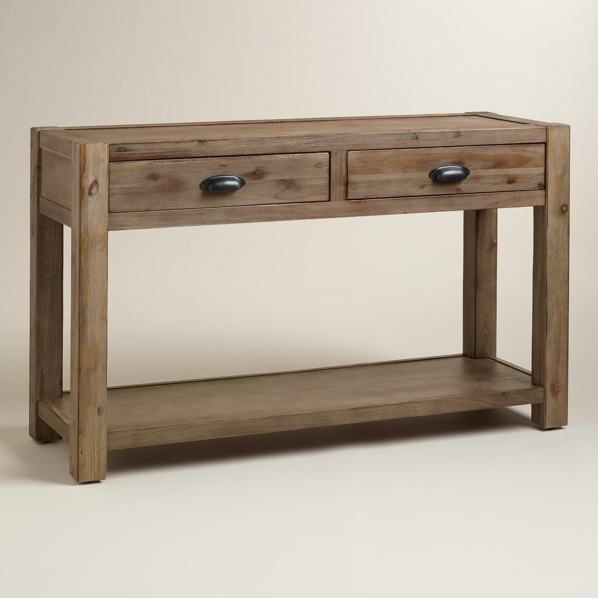 Wood quade console table rustic console tables entryway console our rustic console table features a chunky wood frame and metal library style pulls geotapseo Choice Image