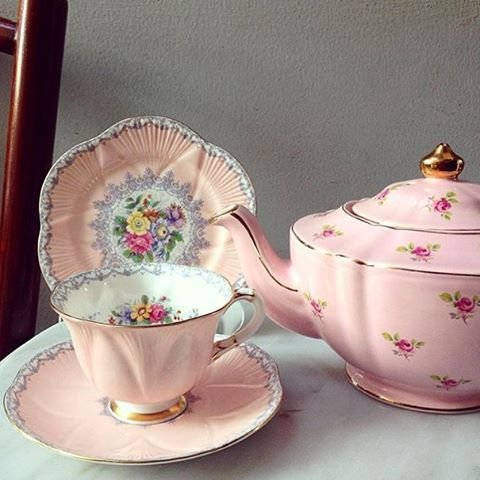 Beautiful & Vintage Pink Teacup in Trio by Shelley England IDR 3945k ❤ harmonypiring16.b...