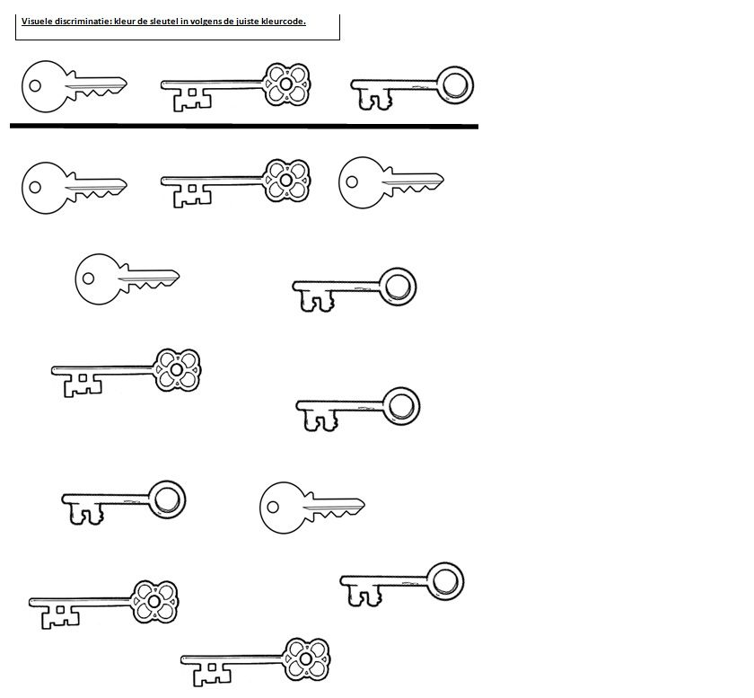 werkblad 1kl visuele discriminatie sleutels thema