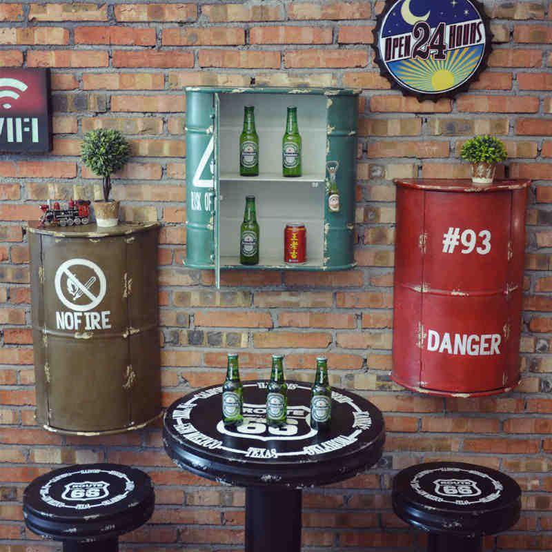 Barato cremalheira do vinho do ferro tambor vento for Mobiliario vintage barato