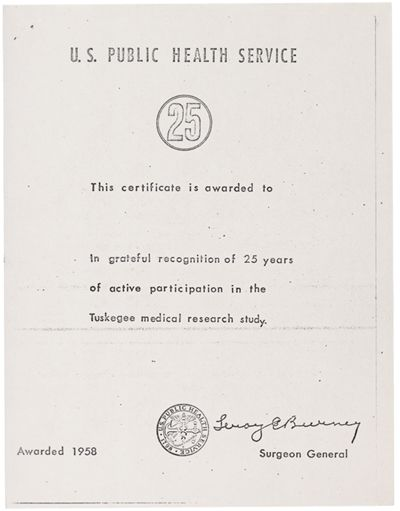 U.S. Public Health Service Certificate in Recognition of 25 Years ...