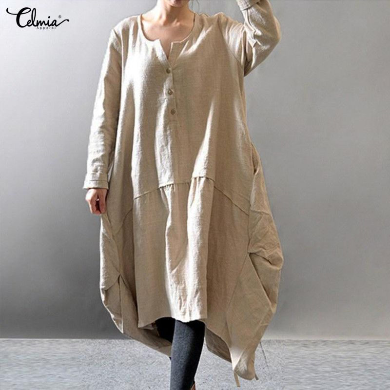 f6cff4376a Cheap linen dress, Buy Quality cotton linen dress directly from China  asymmetrical dress Suppliers: 2018 Spring Celmia Oversized Women Casual  Asymmetric ...