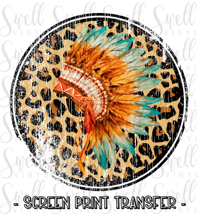 Rts Screen Print Transfer Full Color Headdress Leopard Etsy Screen Printing Screen Printing Designs Print