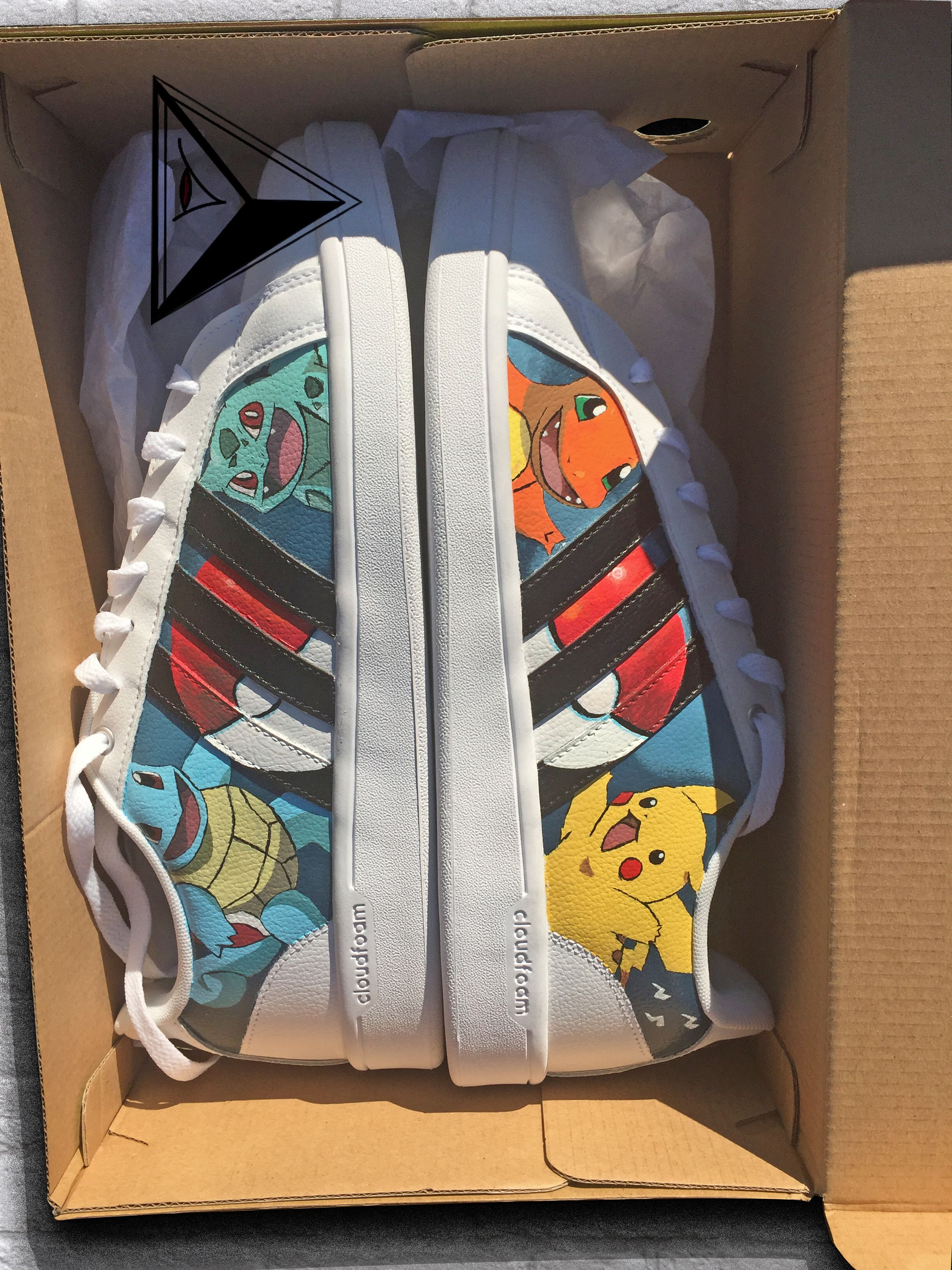d81f8b556e Custom Pikachu Charmander Squirtle Bulbasaur Pokemon Adidas neocloudfoam  sneakers. Availiable on my etsy page!