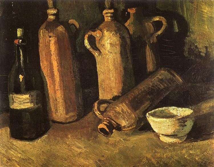 Still Life With Four Stone Bottles, Flask And White Cup 1884 Vincent van Gogh