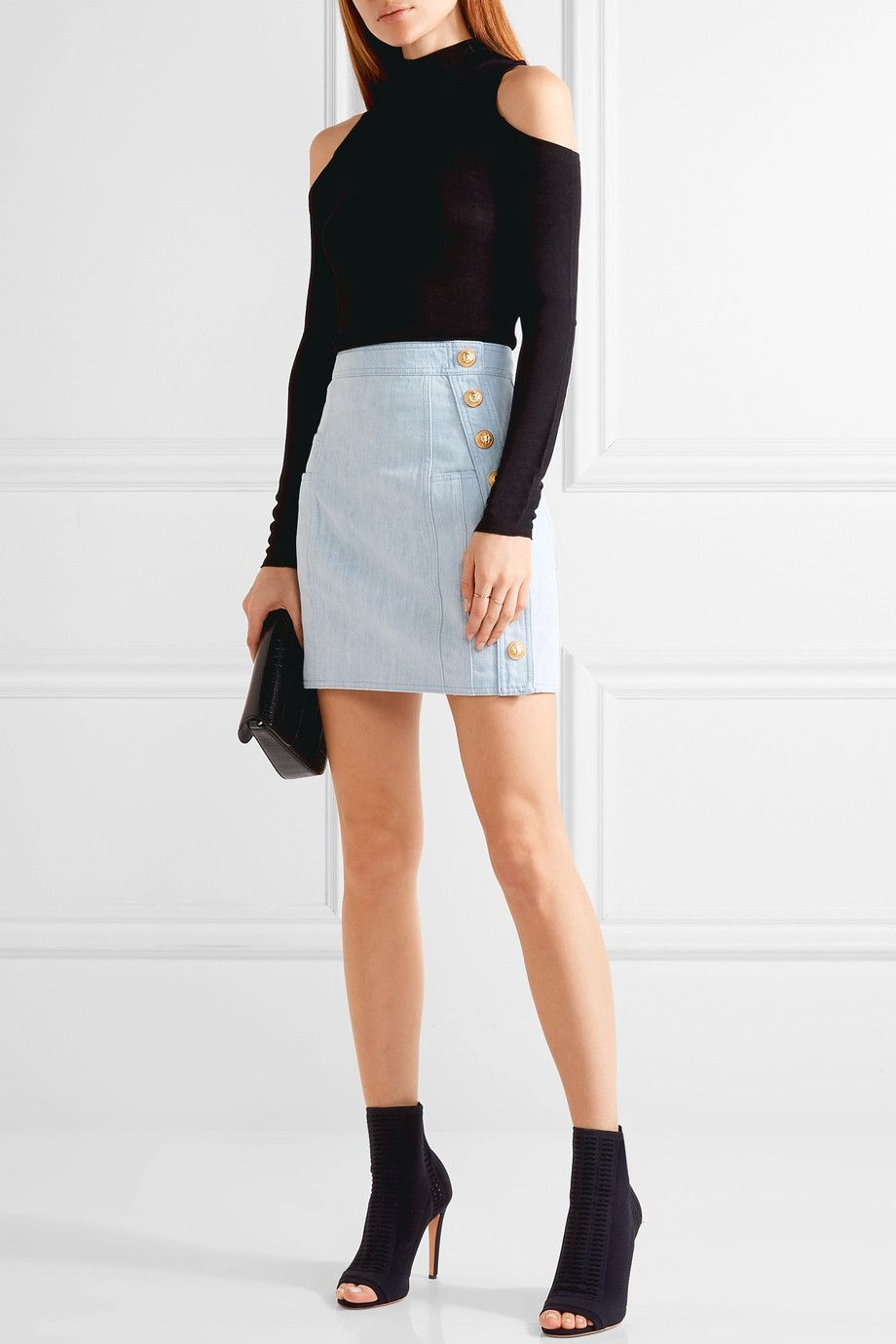 8353beb91b Balmain | Button-detailed denim mini skirt | NET-A-PORTER.COM ...