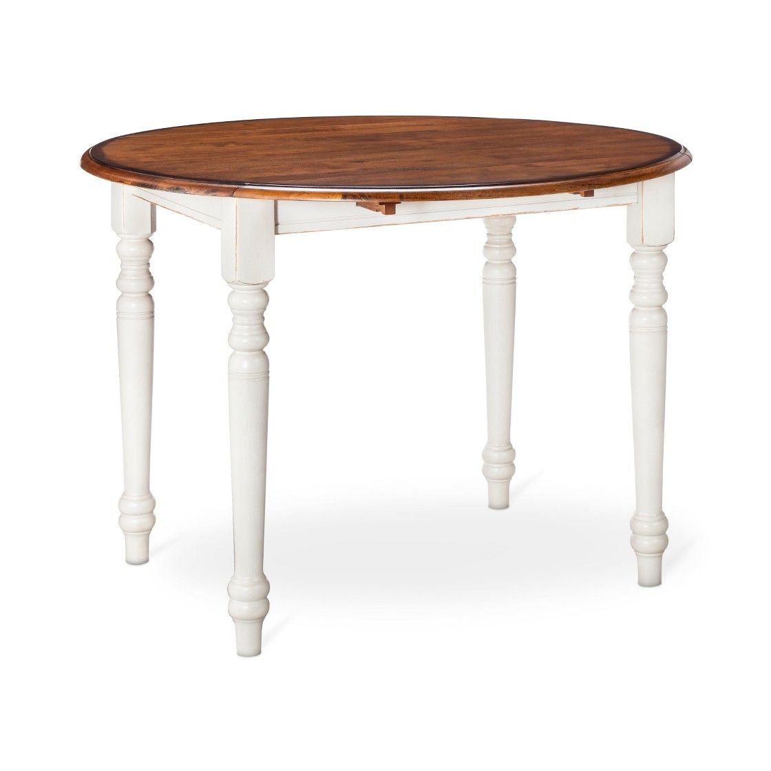 mulberry 42 two tone round distressed drop leaf table