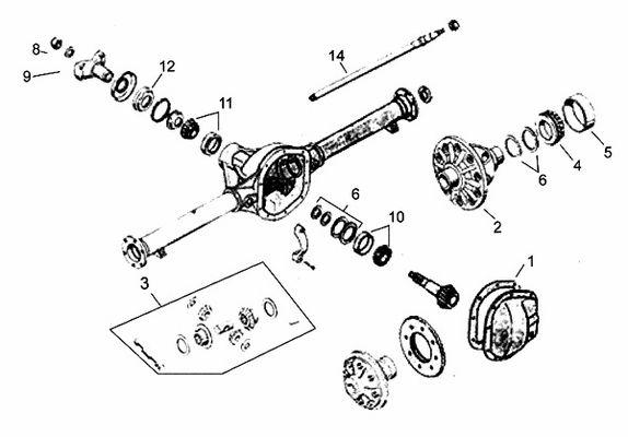 Wrangler YJ Dana 35 Rear Axle Parts 198795 Exploded