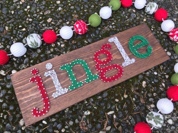 MADE TO ORDER- Jingle String Art- Christmas Decor- Christmas Wall Art #stringart