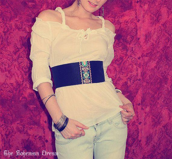 Bohemian waist belt black vintage trim Boho Hippie Gypsy style eco-friendly One of a Kind by TheBohemianDream