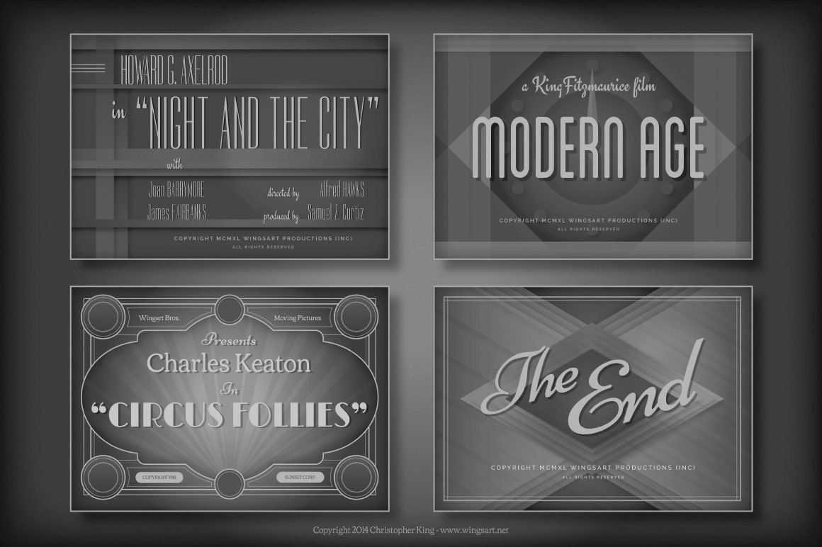 A Collection Of 8 Design Templates For Adobe Photoshop And Illustrator Inspired By Vintage Hollywood Movie Titles Golden Age Cinema
