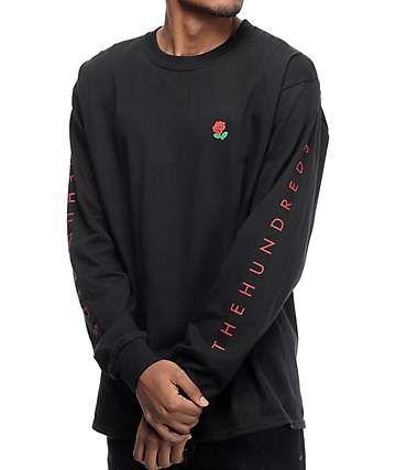 7225e92bc The Hundreds Rose Fill Slant Long Sleeve Black T-Shirt | Left Chest ...
