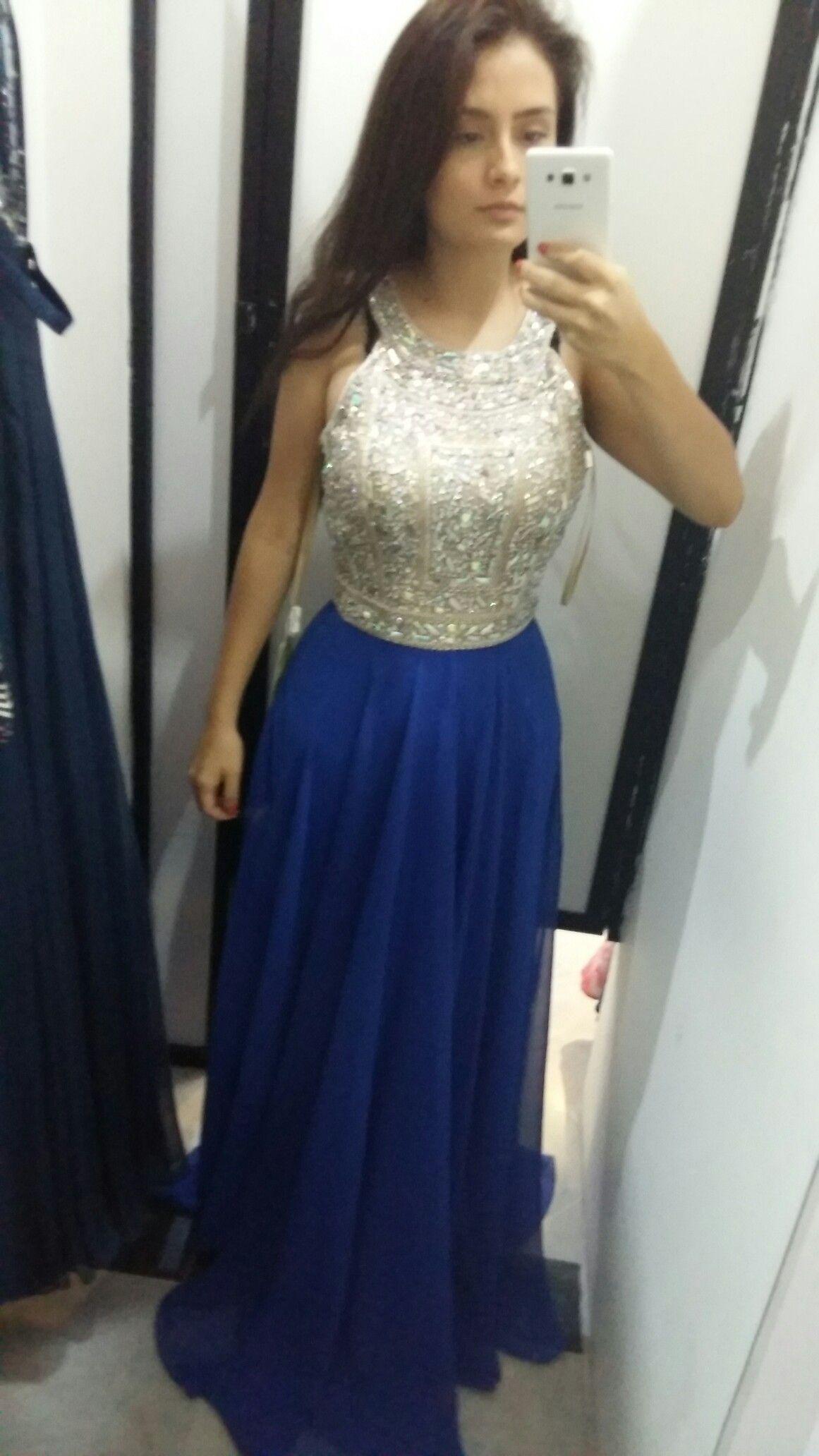 37b3c33355 Vestido largo azul con piedras
