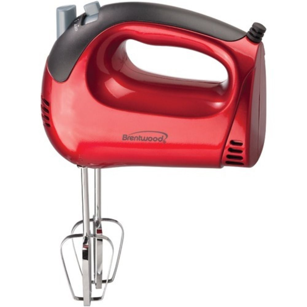Brentwood 5speed red hand mixer light weight electric