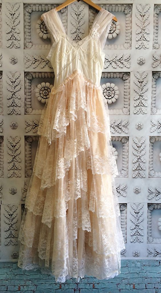 White & blush tiered lace ruffled boho wedding dress by mermaid miss k
