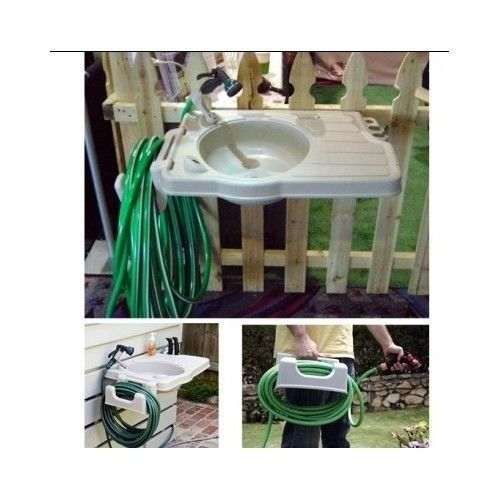Outdoor Sink Portable Hose Reel Garden Tool Rack Cleaning Vegetable Hand Boots  #riverstone