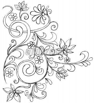 Vines And Flowers Vector Drawing Coloring Pages Doodles