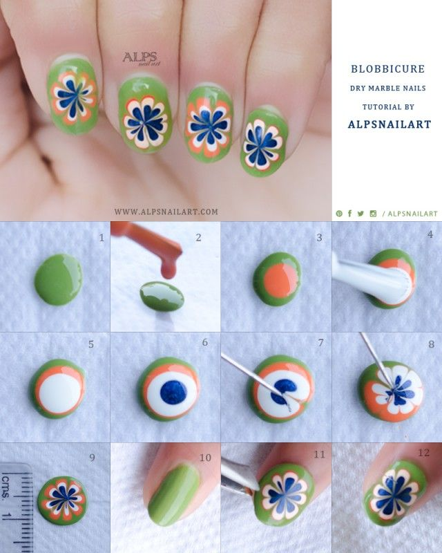 Blobbicure Dry Marble Nails Tutorial with Tri Colors for Indian ...