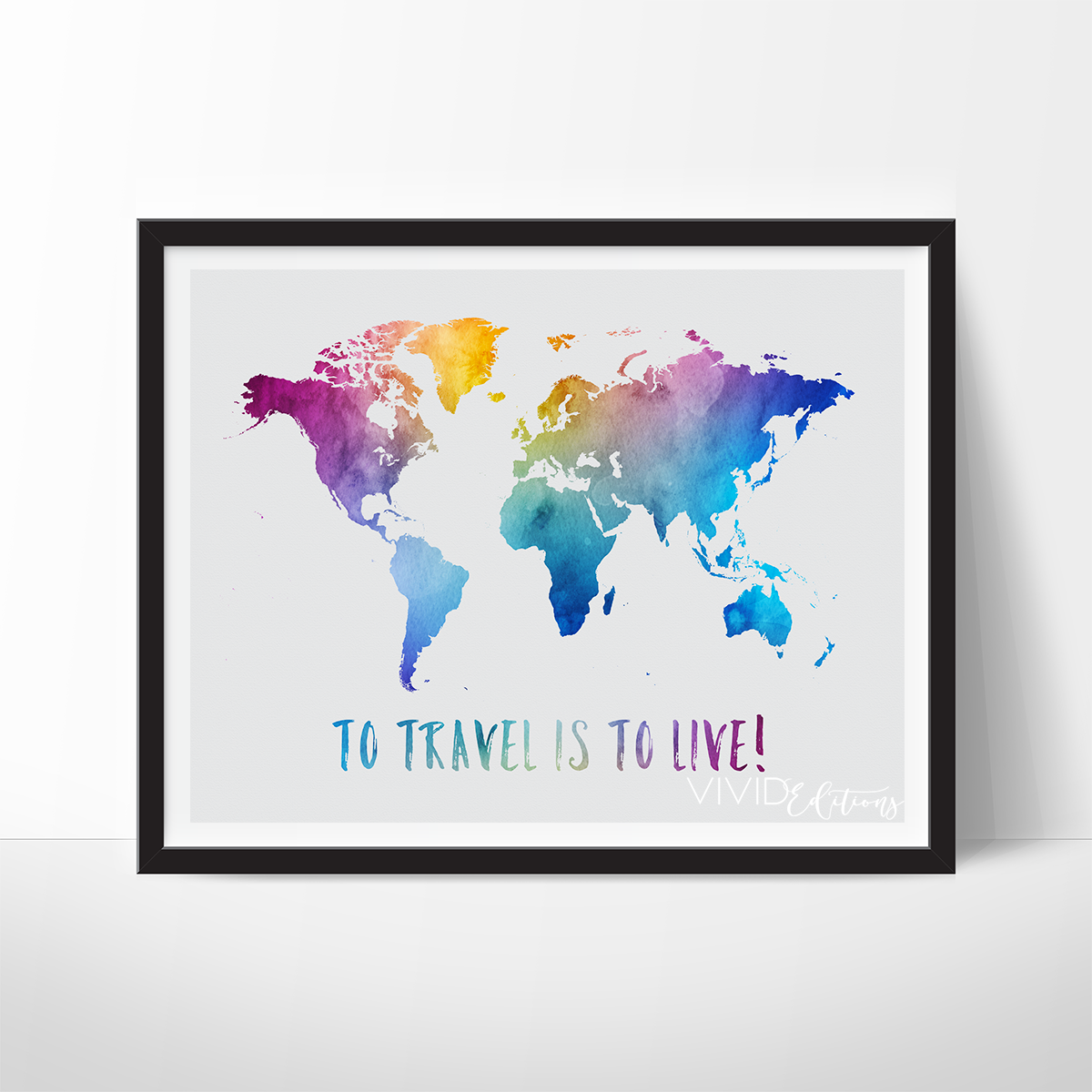 To travel is to live travel quote world map watercolor art print to travel is to live travel quote world map watercolor art print gumiabroncs Images