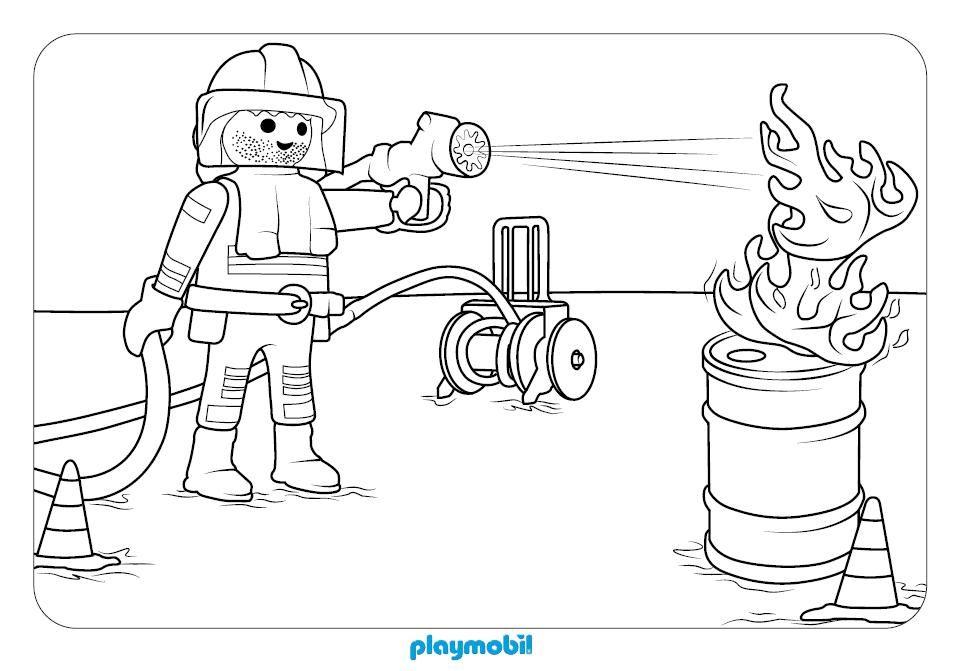 equipo de bomberos playmobil para colorear en playmyplanet ...