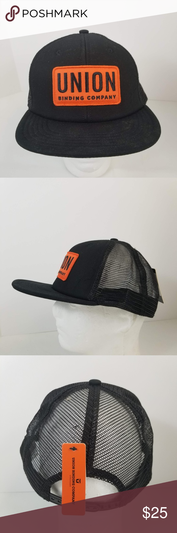 buy popular ebb20 772b8 Union Binding Company Trucker Hat Black Snapback Union Binding Company Union  Trucker Hat Black with orange logo patch One size, adjustable snapback This  hat ...