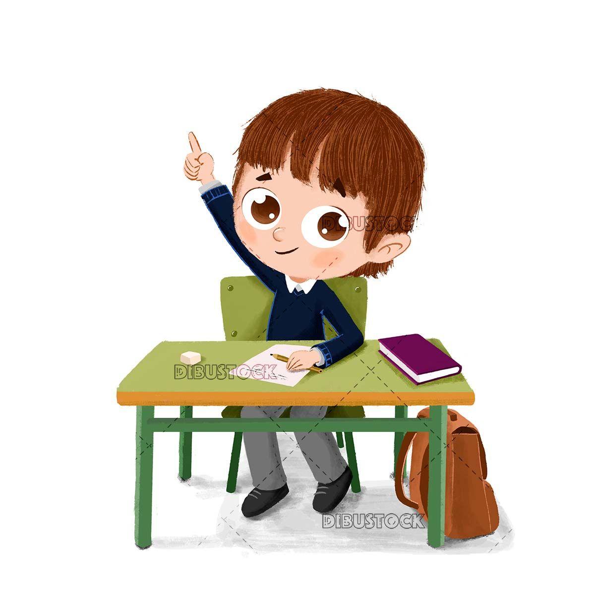 Boy At School Sitting At His Table In 2020 School Illustration Teacher Cartoon Kids Clipart