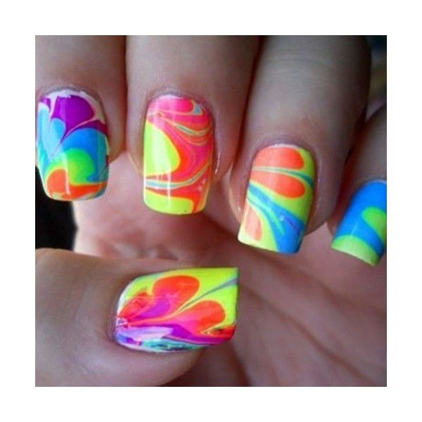 Makeup, Hair, Nail Art / rainbow neon water marbles, found on #polyvore. #nails #beauty nail polish