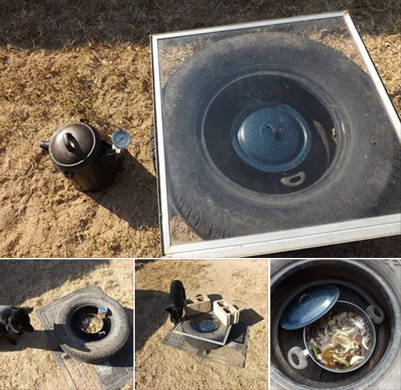 "From Mr. Ivey in West Texas. Tire Solar Oven.  ""I tried this out last year and it worked fairly well, but the ambient temperature was around 103F outside.  One thing I learned- use a LOT smaller portions.  There is just not enough collection area to gain enough heat to cook a large pot-o-stuff like I show here.  For mess kit size it worked better- not as much mass to heat up so it worked better."