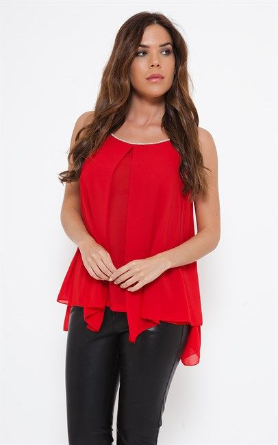 She Is Secret Johana Embellished Neck Cami Top Red