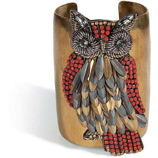 SALONI Brass Owl Cuff (7,040 THB) found on Polyvore