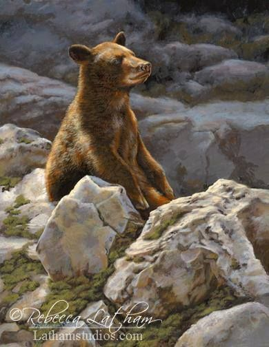 Sunbather - Bear Cub, 8in x 10in, opaque and transparent watercolor on board, ©Rebecca Latham @rebeccalathamfa