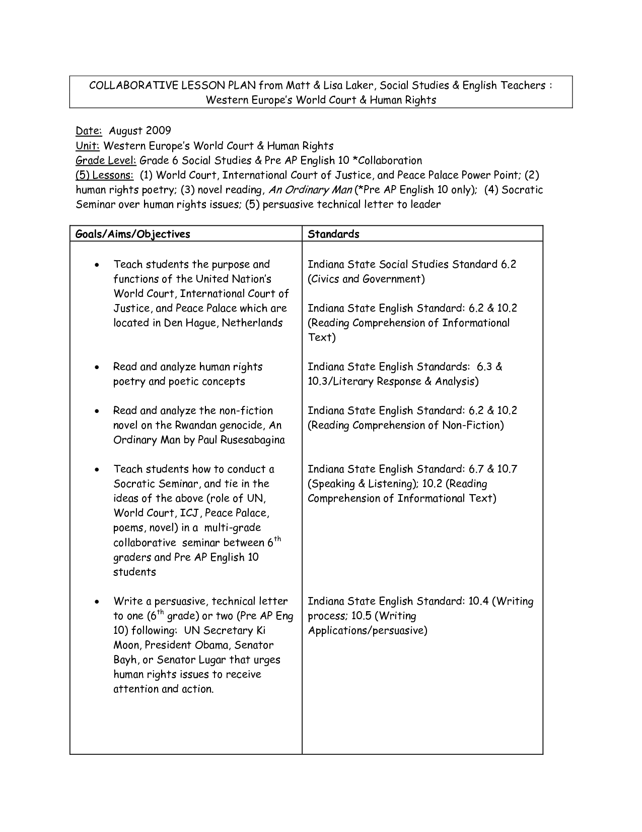 Sample Lesson Plan Format