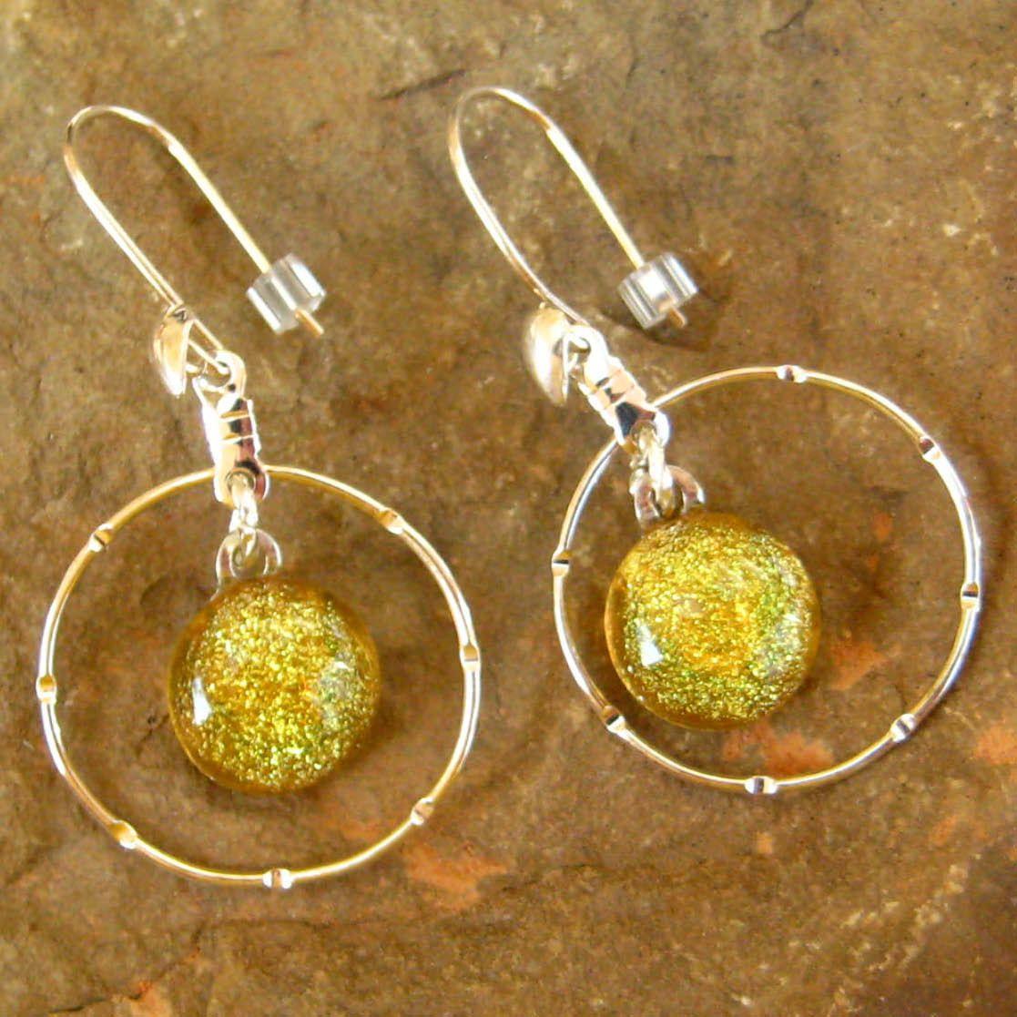 Dichoric Glass Hoop Earrings, Fused Glass Earrings - Sunny Yellow Sparkle