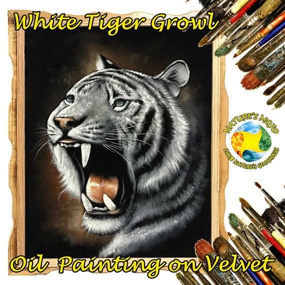 White Tiger Growling Oil Velvet Painting by NaturesMojo on Etsy