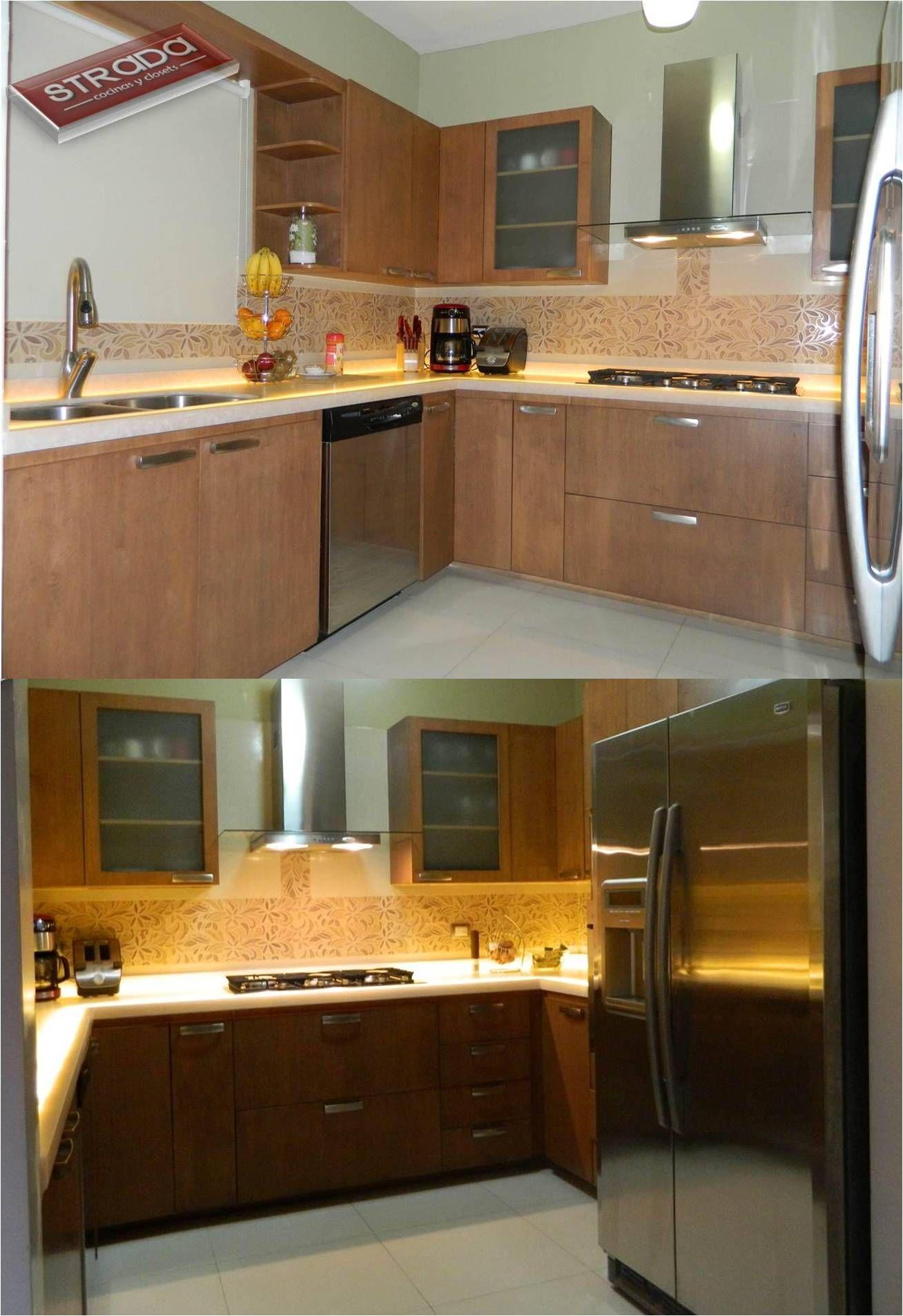 cocina hecha maple color capucciono con cubierta de superficie solida corian