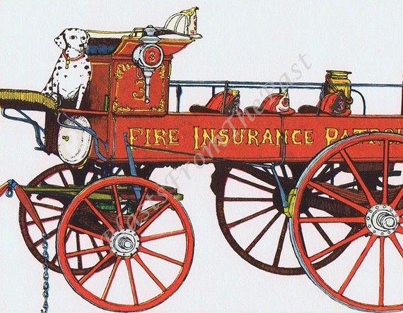 Vintage FIRE TRUCK Lithograph c1871