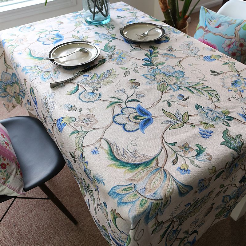 Brand High Quality Table Cloth Wedding Floral Printed Woven Cotton