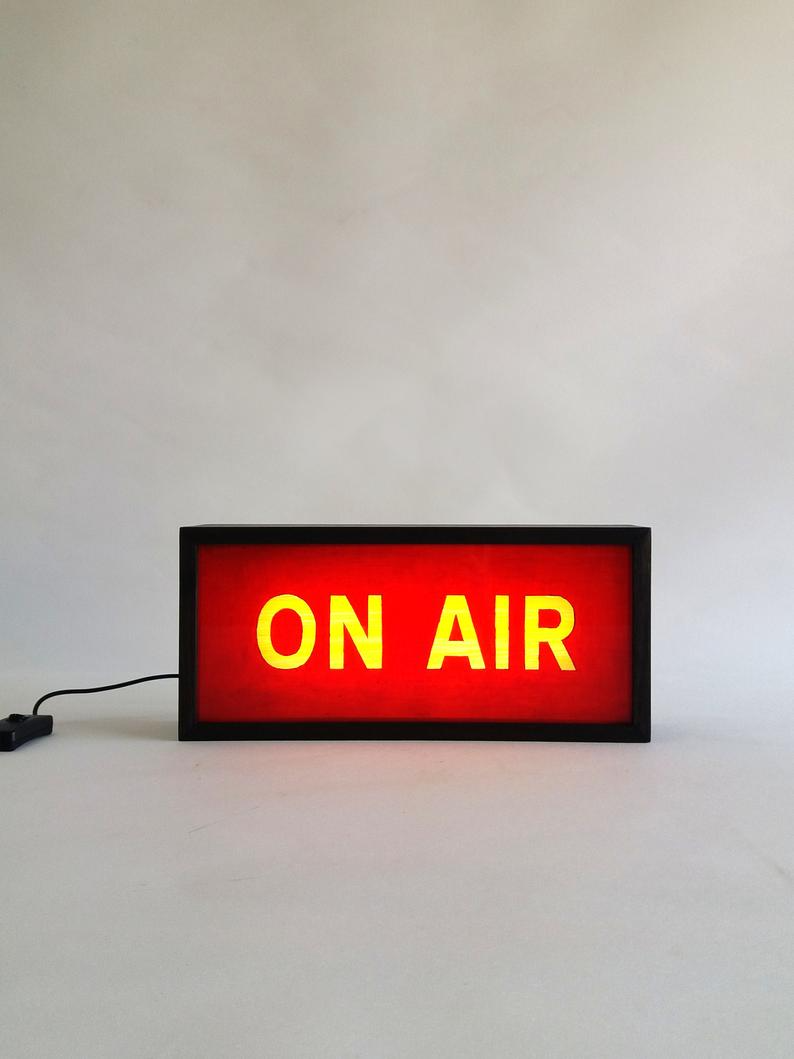 On Air Sign In Red Handcrafted Wooden Light Box Sign Lighted Etsy Light Box Sign Sign Lighting 12v Led Strip Lights