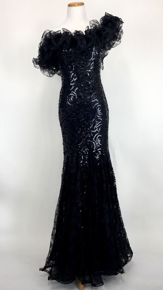 72ef2287 VINTAGE 80'S AFTER FIVE JULIE DUROCHE WILD CHILD GLAM BLACK SEQUIN DRESS  S/M #AfterFive #80s