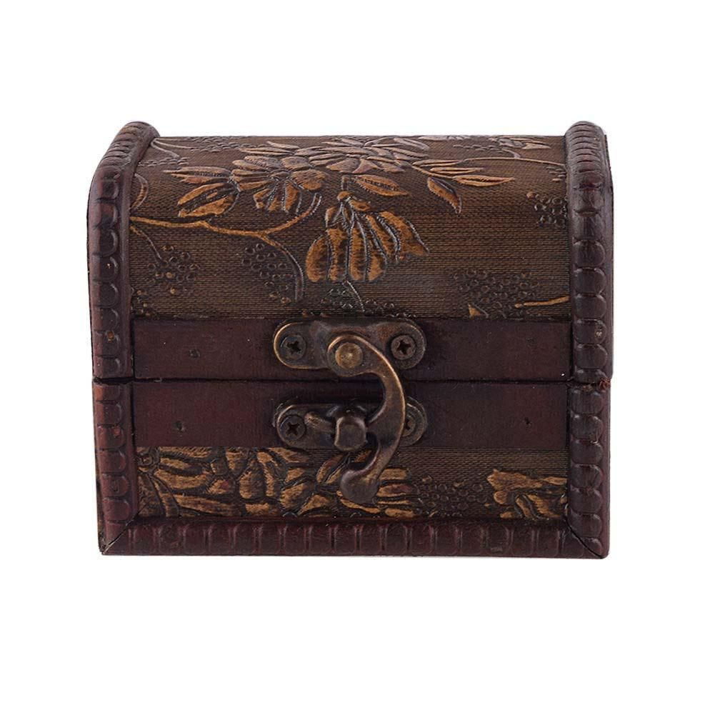 Stylish Vintage Toy Jewelry Treasure Chest Case Manual Wood Box Toy