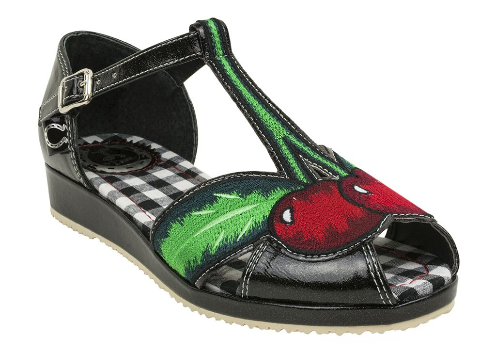 These Miss L Fire Cherry Pop Sandals are as sweet as cherry pie!