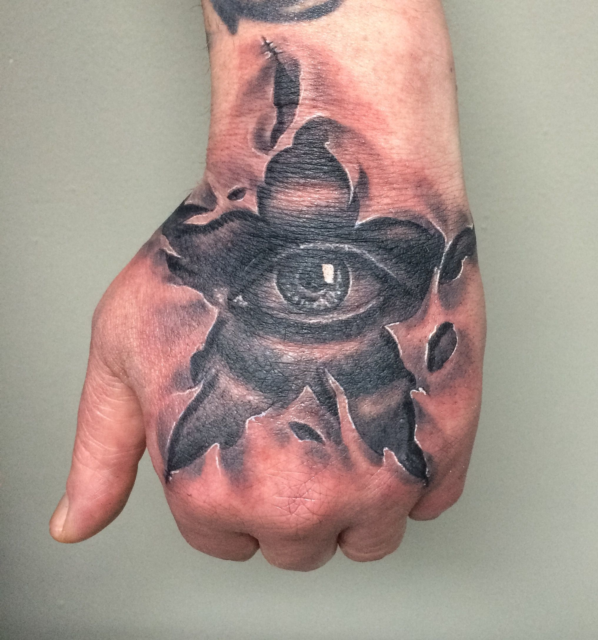 Hand Tattoo star and eye with ripped skin (With images