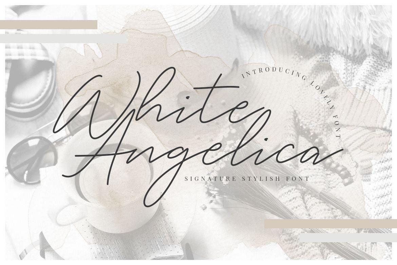 WHITE ANGELICA 100 FREE HANDWRITTEN SCRIPT FONT on