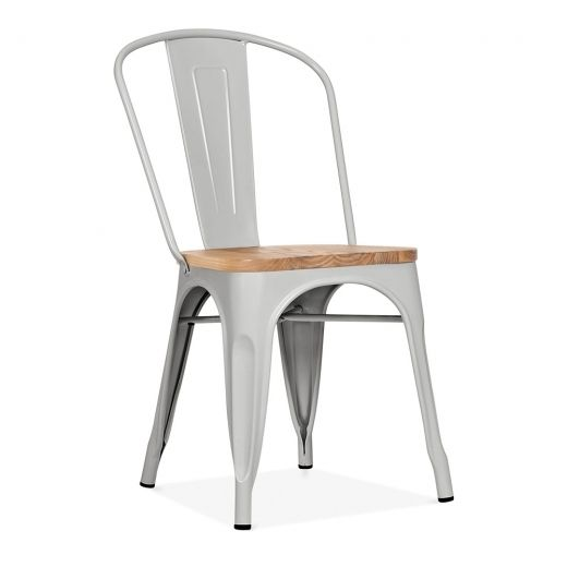 Xavier Pauchard Tolix Style Metal Side Chair With Natural Wood