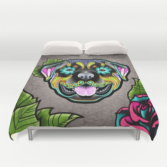 Rottweiler+Day+of+the+Dead+Sugar+Skull+Dog+Duvet+Cover+by+Pretty+In+Ink+-+$99.00