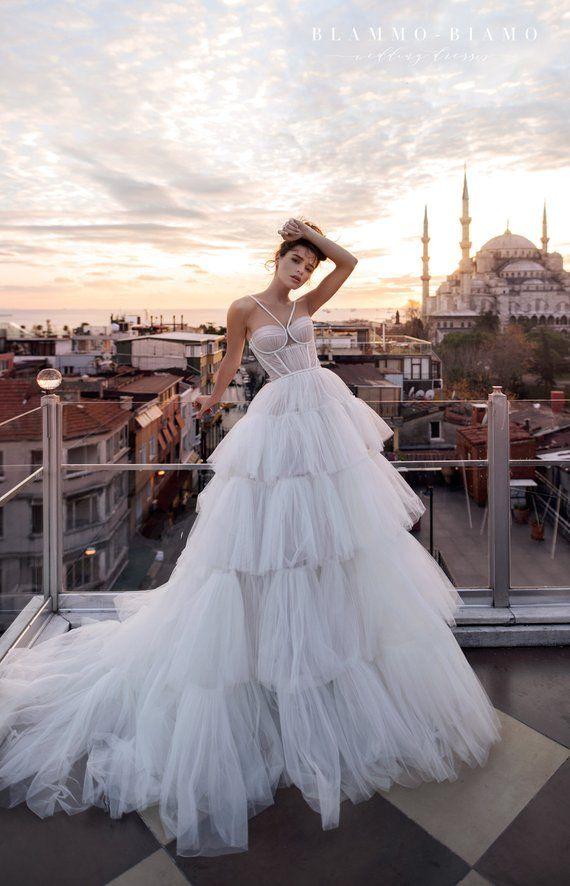 Haute couture A-line floaty silk wedding dress LIAM with long train by BLAMMO-BIAMO • Luxury wedding dress •