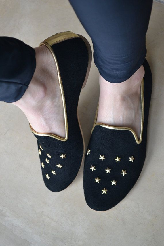 6bec0dda2b7 Women Loafers Leather black golden stars STARDUST by holacrystal ...