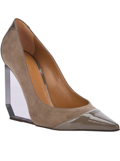 Suede Pollini cap toe with clear wedge   #shoes