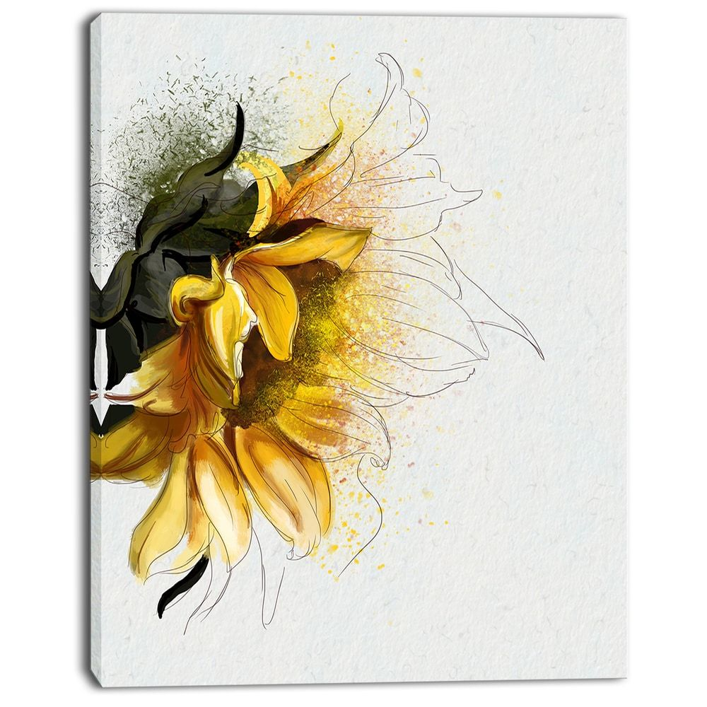 Designart \'Bright Yellow Sunflower Illustration \' Floral Canvas ...